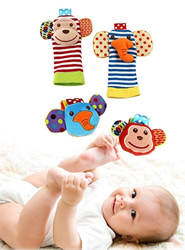 Happy Monkey Baby Wrist Rattles and Foot Finders Set includes both Infant Foot Finder Socks and Wrist Toy