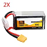 MAUBHYA 2 PCS ZOP Power 14.8V 1800mAh 65C 4S Lipo Battery XT60 Plug SINGLE ITEM