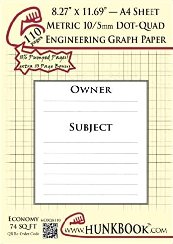 Engineering Graph Paper (MC0QA-110 pages): Metric 10/5mm Dot