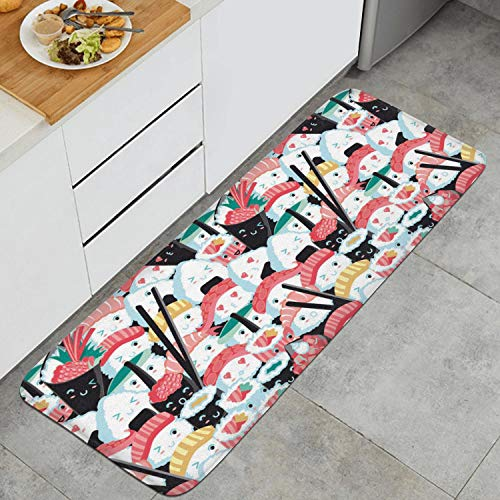 YIPIFYI Kawaii Sushi Crowd Japanese Food Rice Fish Cotton Fabric Anti Fatigue Non-Slip UniqueKitchen Rug Mat Durable Rubber Backing Doormats (Best Sushi Delivery Upper East Side)