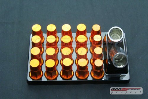 Godspeed T-4 Wheel Rim Racing Lug Nuts 50mm 20 Piece W / Lock M12 X 1.5 Orange Color Fit ALL Scion , Tc, Xa , Xb , Xd , Ft86, Ae86 , Ae85