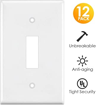 Light Switch Cover White 12 Pack Switch Plates Covers Single Gang Toggle Wall Outlet Covers Standard Size Unbreakable Polycarbonate Amazon Ca Tools Home Improvement