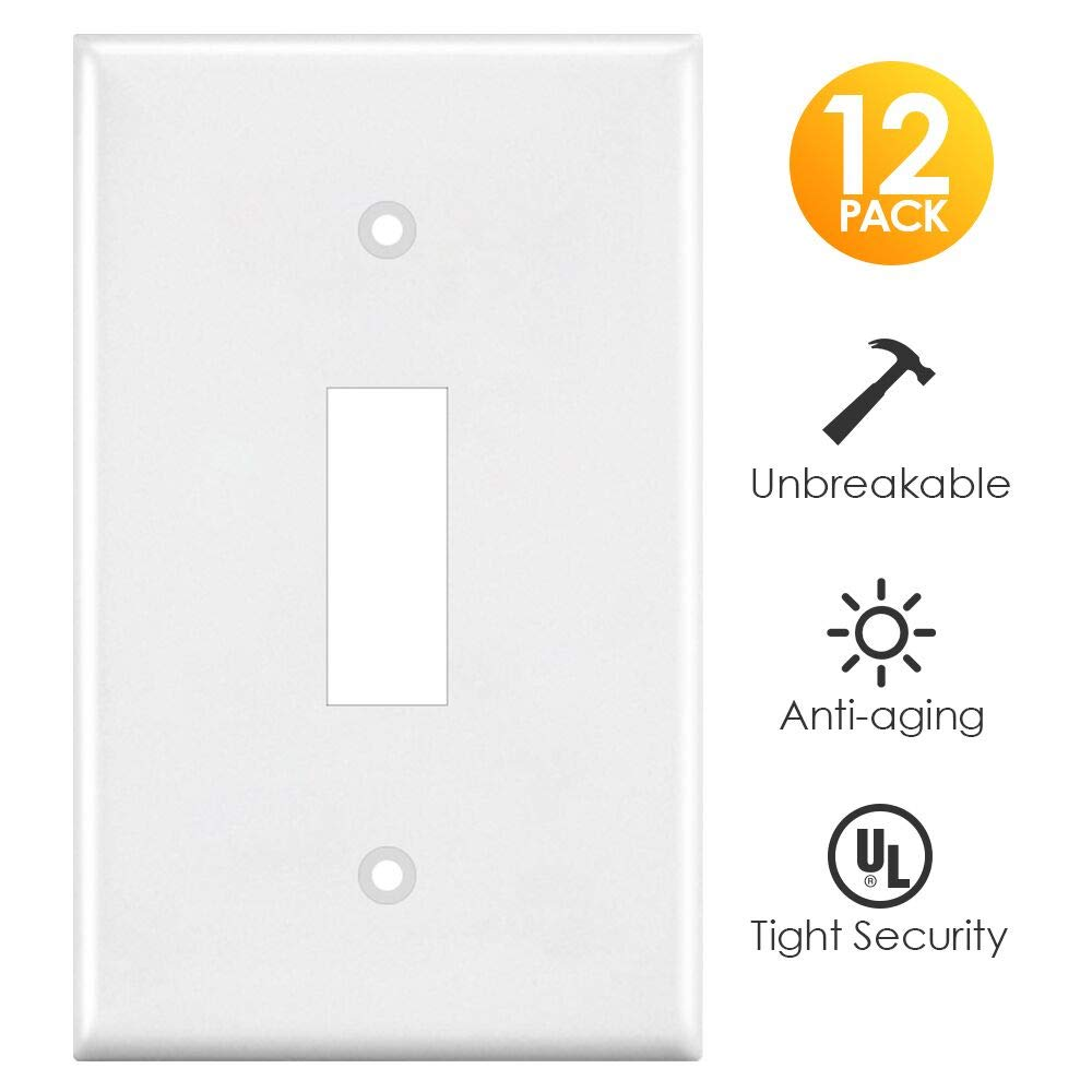 Light Switch Cover, White 12 Pack Switch Plates Covers Single Gang Toggle Wall Outlet Covers, Standard Size, Unbreakable Polycarbonate by CRANACH