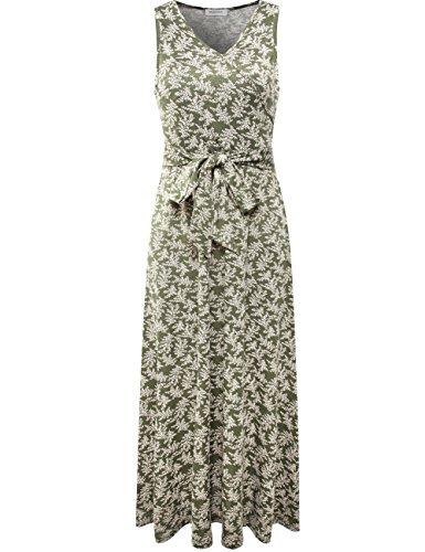 (Melynnco Women's Sleeveless Vintage Floral Faux Wrap Maxi Dress Green XX-Large)