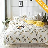 【Newest Arrival】 Pineapple Kids Duvet Cover Set Cotton Yellow Fruits Print on White Reversible 3 Piece Comforter Cover Bedding Collection for Boys Girls Teens Children Adults Queen Full,NO Comforter