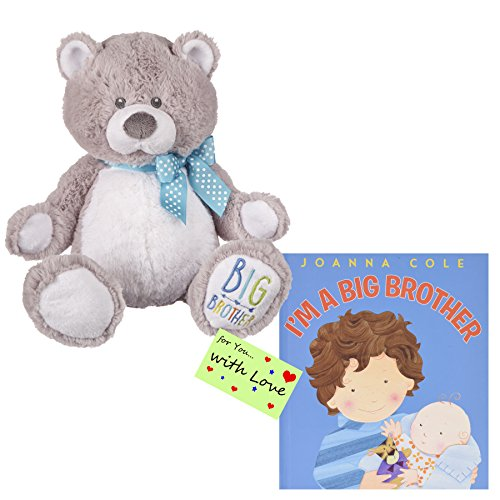 I Am a Big Brother Bear and Book Bundle with Gift Tag For You with (Little Brother Teddy Bear)