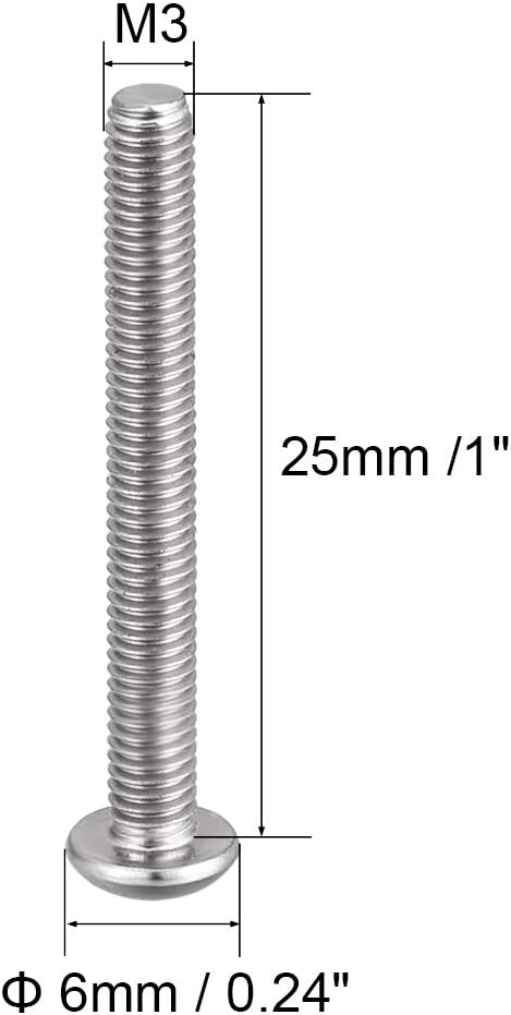 uxcell M3x25mm Machine Screws Hex Socket Round Head Screw 304 Stainless Steel Fasteners Bolts 20pcs