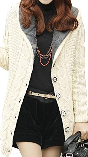 SS-Womens-Cable-Sweater-Faux-Fur-Lined-Hooded-Button-Cardigan-Jacket-Coat