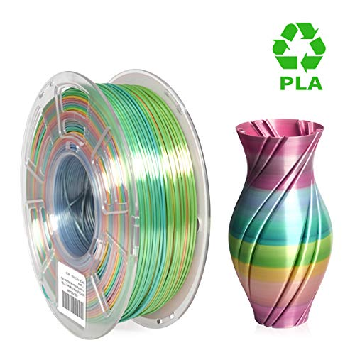TTYT3D 1KG 2.2lbs 3D Printer Filament 1.75mm PLA Shiny Silk Multicolor Rainbow