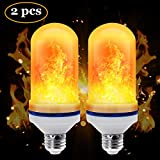 CPPSLEE - LED Flame Effect Light Bulb - E26 Standard Base - Atmosphere Decoration Fire Flickering Simulation 105 pcs 2835 LED Beads -Flame Bulb for Home Decoration(2 Pack)