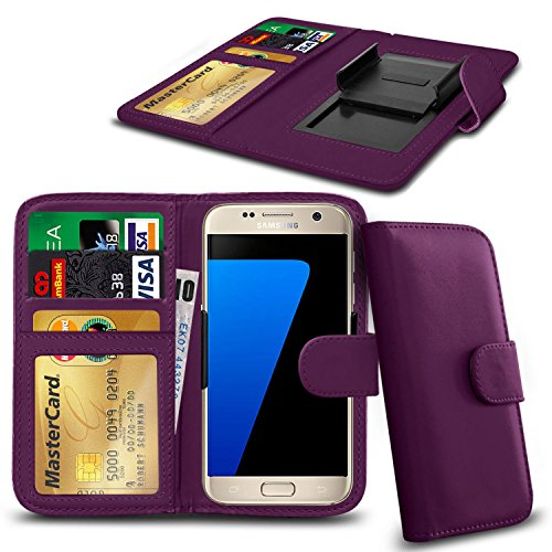 iPhone N4U Online® Pomme 5 PU cuir clip Cover Wallet Case Avec carte de crédit, Notes & ID Slots - Violet