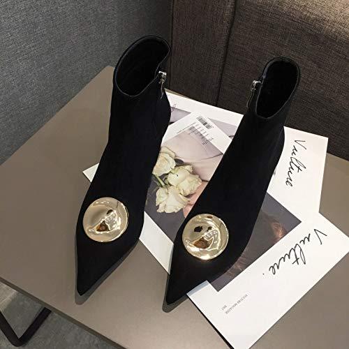 HRCxue High High High Heels Damen Stiefeletten mit Spitzen und niedrigem Absatz, Metallbesatz, seitlicher Reißverschluss 03859c