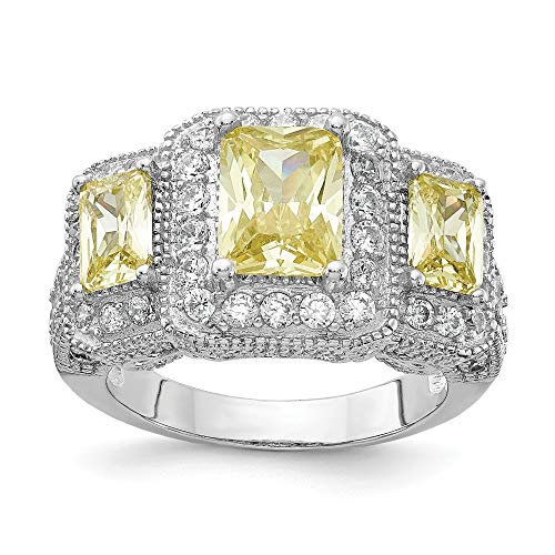 925 Sterling Silver Canary White Cubic Zirconia Cz 3 Stone Band Ring Size 8.00 Fine Jewelry Gifts For Women For Her ()