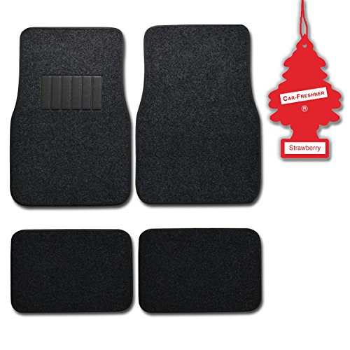 (BDK Dark Grey 4 Pc Universal Carpet Car Mats w/ Heel Pad + Little Tree Strawberry)