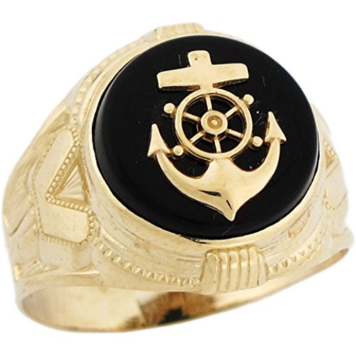 (Jewelry Liquidation 10k Real Yellow Gold 14mm Round Onyx Anchor Navy Marines Mens Ring)
