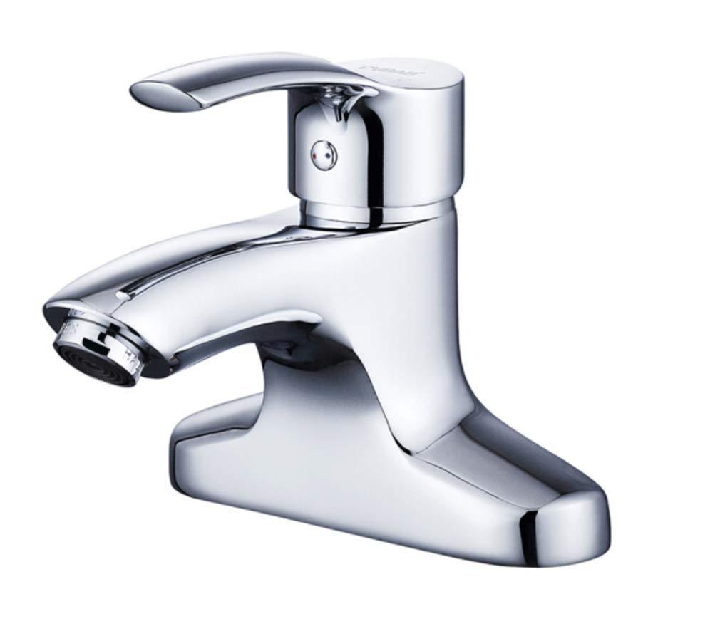 Edelstahl Einhand Mischer Einhebel Doppel-Loch Waschtischarmatur, Alle Kupfer-Waschtischarmatur, Doppel-Waschtischarmatur.