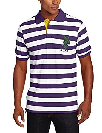 U.S. Polo Assn. Men's Two Color Bengal Stripe Pique Polo Shirt, Majesty Purple, Small