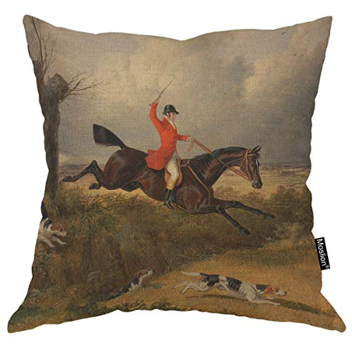 Moslion Throw Pillow Cover Fox Hunting 18x18 Inch Gentlemen Hunter Running Dogs Horse Traditional Sport Square Pillow Case Cushion Cover for Home Car Decorative Cotton Linen