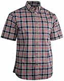 Canyon Guide Men's Plaid Short Sleeve Button Down Casual Shirt (Large, Carolina Blue)