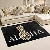 Colivy Aloha Pineapple with Black Entrance Rug Shoe Scraper Welcome Doormat Floor Mat Rugs Front Door/Bathroom Mats Antiskid Decor mat