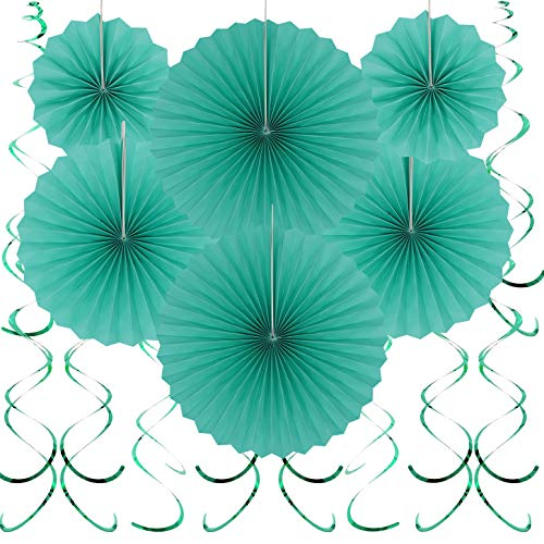 Teal Blue Hanging Paper Fans Decorations - Under the Sea Baby Shower Birthday Party Swirls Ceiling Hangings Wedding Engagement Photo Booth Props Backdrops Decorations, 20pc