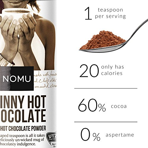 NOMU Skinny 60% Cocoa Hot Chocolate (33 servings) | 20 Calories only, Low GI, High Protein, Low Sugar Diet Drink