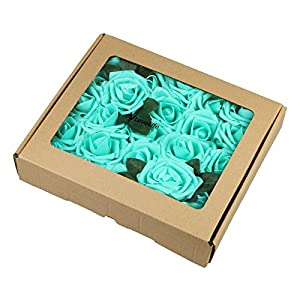 Vlovelife Artificial Flowers with Stem, 25pcs Teal Blue Real Looking Roses, Fake Rose Flowers with Stem for DIY Wedding Bouquets Centerpieces Arrangements Birthday Baby Shower Home Party Decor