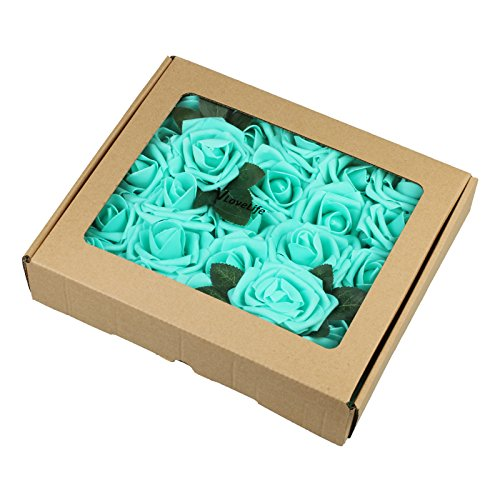 Vlovelife 25pcs Teal Blue Roses Artificial Flowers Real Looking Fake Roses w/Stem for DIY Wedding Bouquets Centerpieces Arrangements Birthday Baby Shower Home Party Decorations 3'' Artificial -