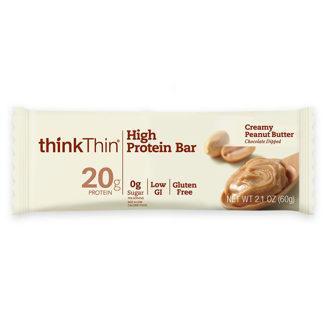 thinkThin High Protein Bars - Creamy Peanut Butter, 20g Protein, Low Sugar, Low Net Carbs, No Artificial Sweetners, Gluten Free, GMO Free, Nutritional Snack/Meal Bar, 10 Count