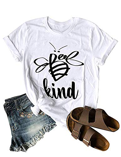 Woxlica Women Bee Kind Letter Printed T-Shirt Summer White Cotton Tee Tank Top S