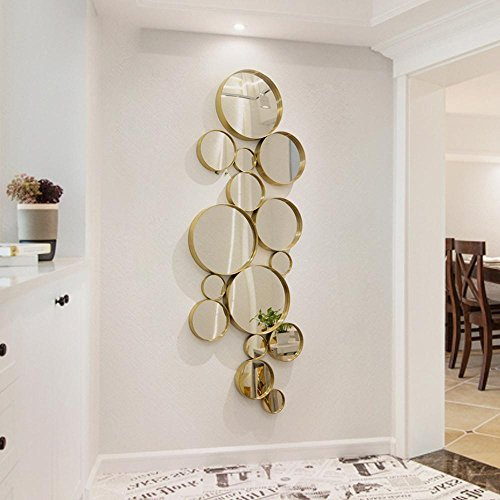 OOFYHOME Wall Sticker Bedroom Wall Decoration Living Room Wall Haning Home Decoration Round Stainless Steel Mirror , titanium gold - erect by OOFYHOME