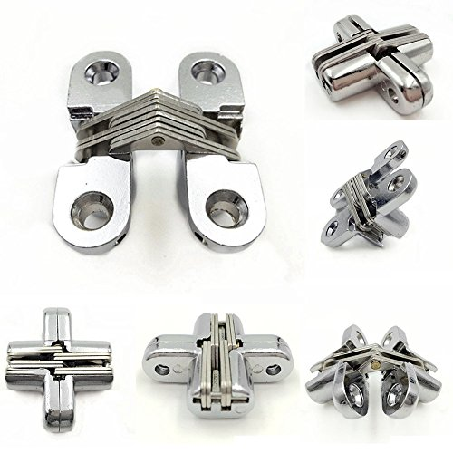 2pcs Hidden Hinge Stainless Steel Invisible Hinges Concealed Barrel Wooden Box Convex Cross Hidden Hinge for Furniture Hardware Folding - Convex Cross