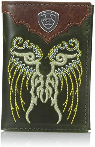 Ariat Men's Fancy Boot Embroidery Trifold Green Wallet