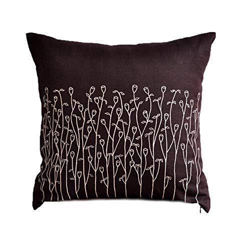 装飾枕カバーダークブラウンコットンリネン正方形枕ケースベージュGrassフローラル刺繍現代ホーム装飾クッションカバー 16 inch x 16 inch ブラウン 16 inch x 16 inch  B00NA87C8W