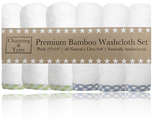 Organic Baby Washcloth Set (Premium Bamboo Baby Washcloths (6-Pack) | Organic Bamboo Baby Washcloth Set - 2x Thick & Soft | 10x10 inch Reusable Wash Cloth Wipes | Perfect for Eczema (Blue / Green))