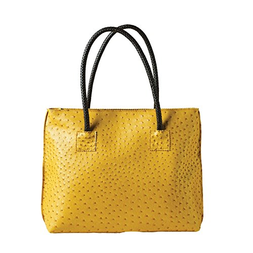 Women's Vegan Handbag - Ostrich Look Embossed Tote with Zip Close - Sunflower