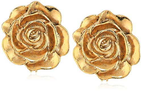 1928 Jewelry Women's 14K Gold-Dipped Flower Button Clip Earrings, Gold, One Size