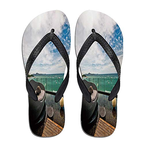 TecBillion Patio Decor Beach Flip Flops,Thailand Pattaya City,for Men&Boys (Beach Thailand Patio)