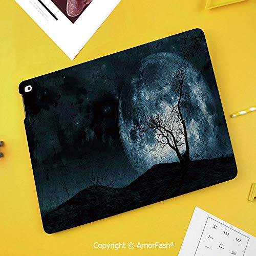 Case for Samsung Galaxy Tab S4 10.5 T830 T835 T837 Kids Safe Shockproof,Fantasy,Night Moon Sky with Tree Silhouette Gothic Halloween Colors Scary Artsy Background,Slate Blue ()