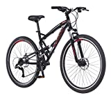 Schwinn S29 Dual-Suspension Mountain Bike, Featuring 18-Inch/Medium Aluminum Frame, 29-Inch Wheels with Mechanical Disc Brakes, 21-Speed Shimano Drivetrain, Glossy Black (Renewed)
