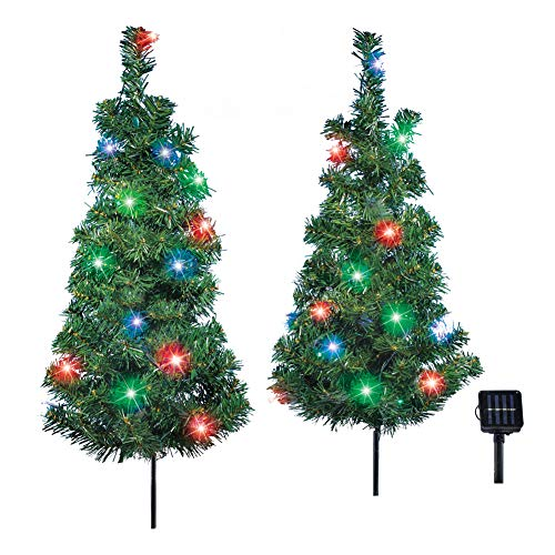Stake Christmas Tree - Collections Etc Solar Christmas Trees Outdoor Garden Stake Set with Multicolor Lights, Automatic Light Up Decoration