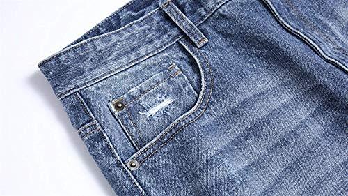 Dril Casuales Vaqueros De Cortos De Jeans Cortos Look Regular Pantalones del Ssige del Los Dril De Pantalones Retro Desgastado Pantalones De Delgados Fit Algodón Algodón Hombres Joven Colour Bermuda q5AtAgy