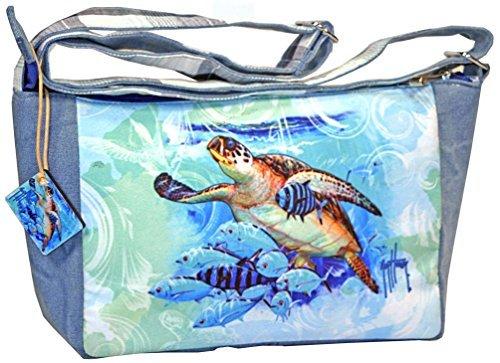Guy Turtle Harvey - Guy Harvey Blue Sea Turtle Cross Body Shoulder Bag