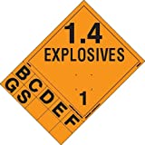 Labelmaster PSR72-SP Explosive Class 1.4 Hazmat Placard with Tabs, Removable Vinyl (Pack of 25)