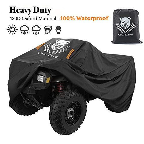 Duty Heavy Canvas Wheel Cover (ATV Cover Heavy Duty Waterproof 3XL 101 Inches 420D Oxford Cloth Quad ATC 4 Wheeler Covers All Season Weather Proof Outdoor UV Protection for Kawasaki Yamaha Suzuki Honda Polaris-ClawsCover)