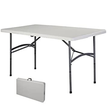 COSTWAY Table de Camping Table Pliante Transportable en Plastique et ...