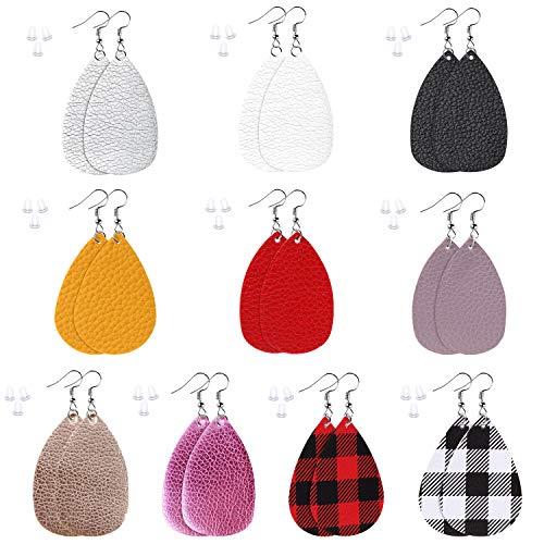 Faux Leather Earrings, Lightweight Faux Leather Earrings Leaf Earrings Teardrop Dangle Antique Handmade Earrings for…