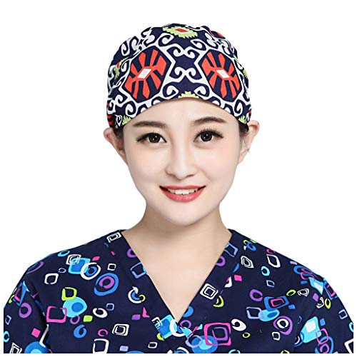 Surgical Cap Scrub Cap Sweatband Adjustable Medical Bouffant Cap Turban Cap Scrub Hat Head Cover for Doctor Nurse Men Women