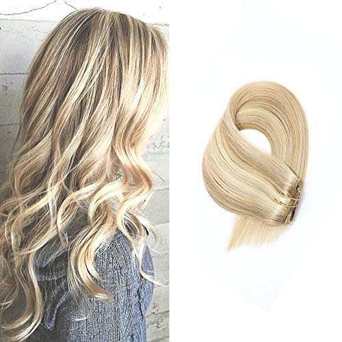 Human Hair Extensions Clip in Dirty Blonde Highlights 15 inch Remy Straight Hair for Fine Hair Full Head (Best Human Hair Clip In Extensions)