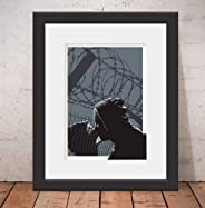 Quadro Decorativo Poster Nils Banksy Style Cinz Vidro Anti-Reflexo & Paspatur 46x